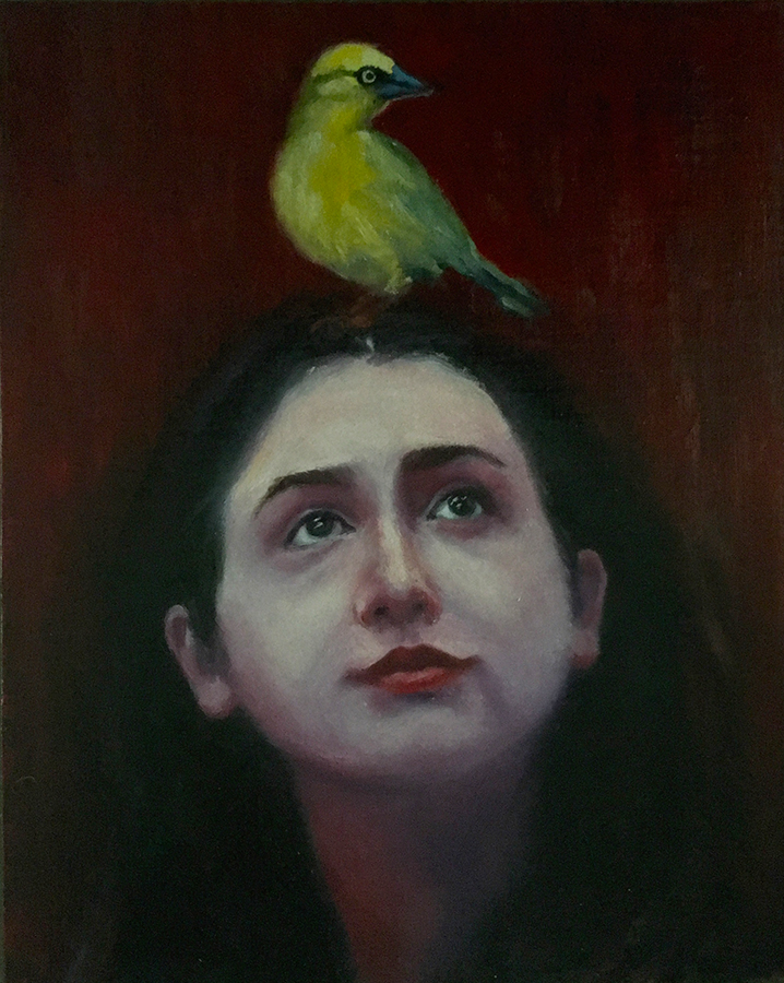 ELAINE DAVIS That Thing with Feathers, 2018 Oil on panel-mounted linen, $350  I love painting and drawing the human face and form. Expression in each, or both, is completely open to our interpretation, both in viewing a piece of art, and in real life. In this painting, I use the bird as the classic metaphor for hope (as in the Emily Dickinson poem). The subject's wry look toward the bird speaks to her relationship with the concept of hope.
