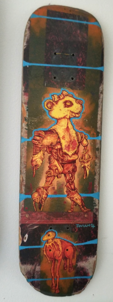 Jovian McMeans, The Poacher, 2018, enamel and acrylic on well used skateboard