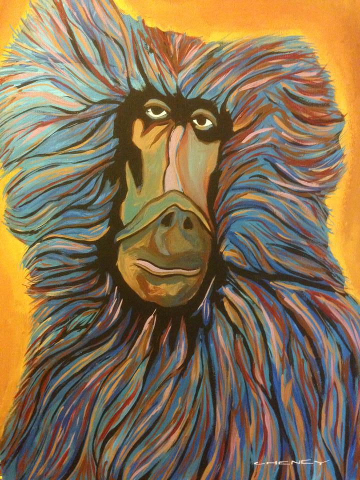 "Cheney LaRue, ""Baboon"", acrylic on canvas, 16""x20"""
