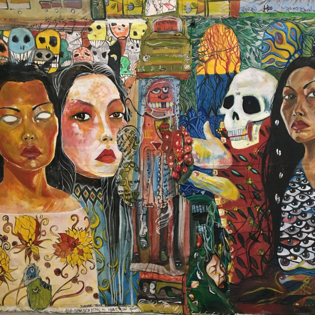 ONI DAKINI Mom majick 'n what she never showed me, 2019 Mixed media on canvas $900  Work about my blood mom, her mom, me 'n my daughter and how I taught my child. All but my real mom threw me away as a toddler. I wonder if her mom threw her away. We have majik though. I know things I never learned from an elder.