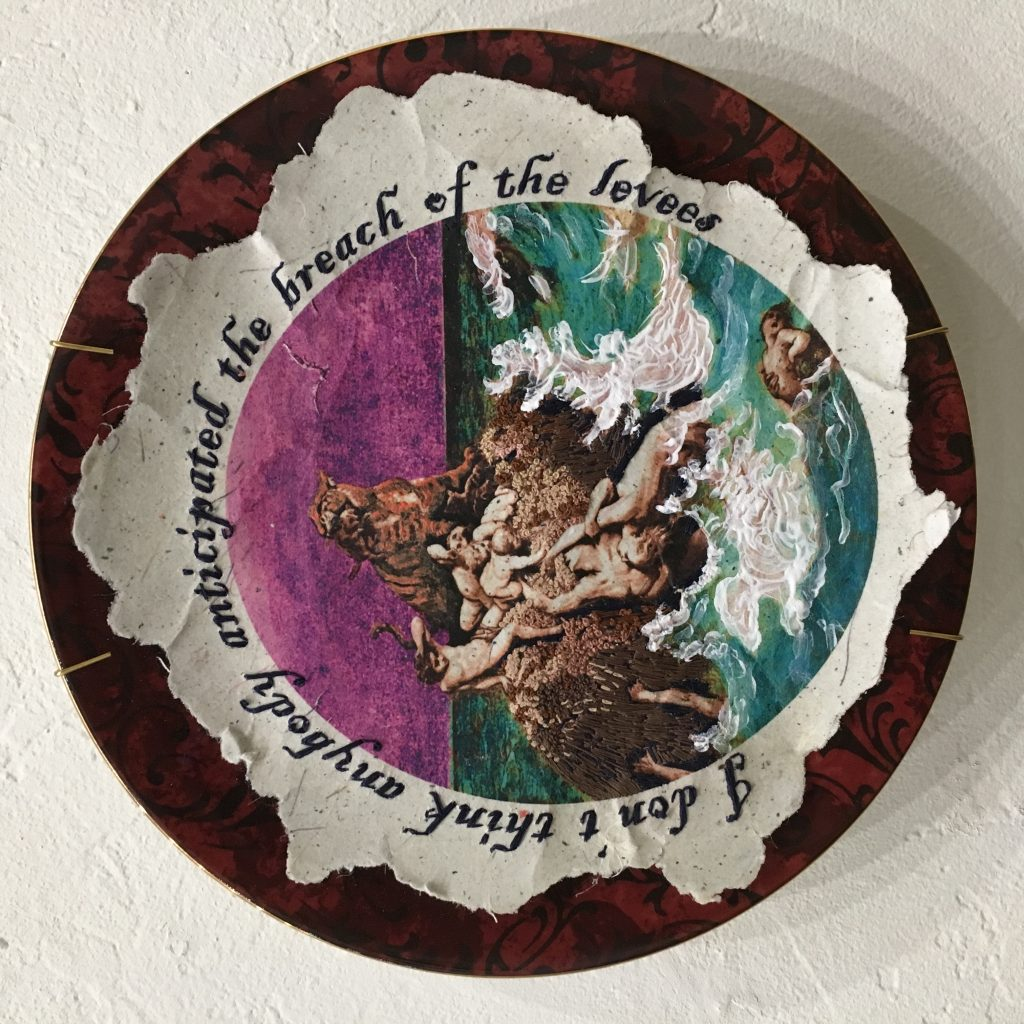 "GINI HOLMES Deluge, 2017 Heat transfer on handmade paper, embroidery, ink, flocking, puff paint, dinner plate $207  Quote: ""I don't think anybody anticipated the breach of the levees."" ~ (Pres. Bush) on "" Good Morning America,"" Sept. 1 2005, six days after repeated warnings from experts about the scope of damage expected from Hurricane Katrina.  Image: After the Deluge"