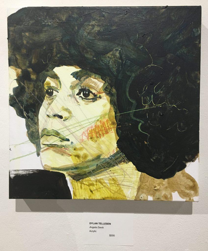 """Dylan Tellesen, """"Angela Davis"""", acrylic on canvas, 12 x 12"""""""