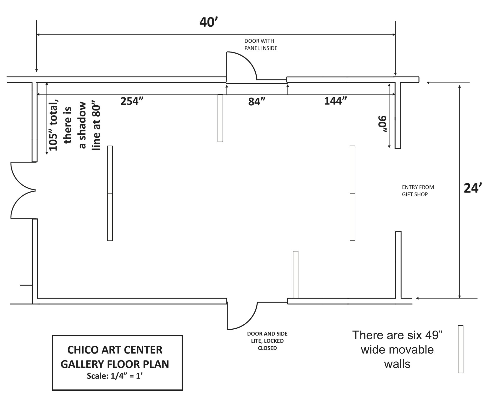 CAC Gallery floor plan qtr in scale