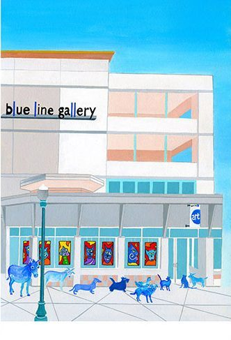 """The Blue Queue"", Acrylic on paper, 25x19"" framed, image 17x13"", $475  A Group exhibit at the Blue Line Gallery in Roseville features the work of a renouned cat portrait painter, Felix Van Dyke. The animals have painted themselves blue in honour of Felix's famous ""Blue Period"" and are queued for the opening Artist Reception, eager to meet the artist. Each secretly hopes to be the next subject of one of Felix's portraits, but alas, Felix only paints the mad cats from his local pub."