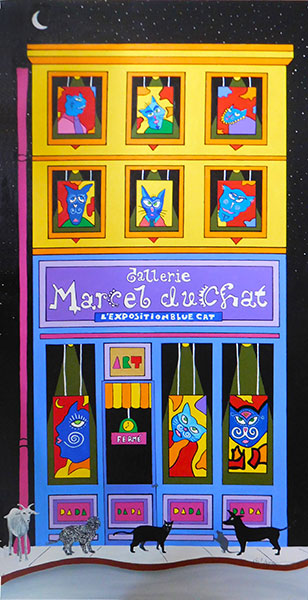 """Galerie Marcel DuChat"", Acrylic on canvas, 48x24"", $900.  An original painting featuring mini versions of the Mad Cat series."