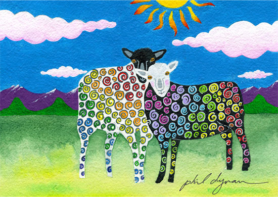 """Happy Sheep"", Acrylic on paper, 17x21"" in purple enamel frame with black matting, $395. Most of the animals that show up at the Rescue Center have been badly abused, abandoned, or both. They usually have some emotional baggage and it takes months for them to develop trust. But eventually most do get to a happier place. These two found each other and that made a difference for them."