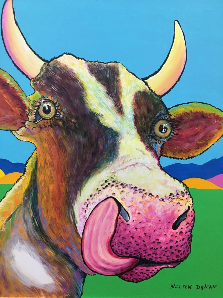 """Talented Cow"", Acrylic on board, approx. 18x20"", $245.  One of the cows on the range near our studio who shows promise as an entertainer or possibly a Facebook ""influencer?"