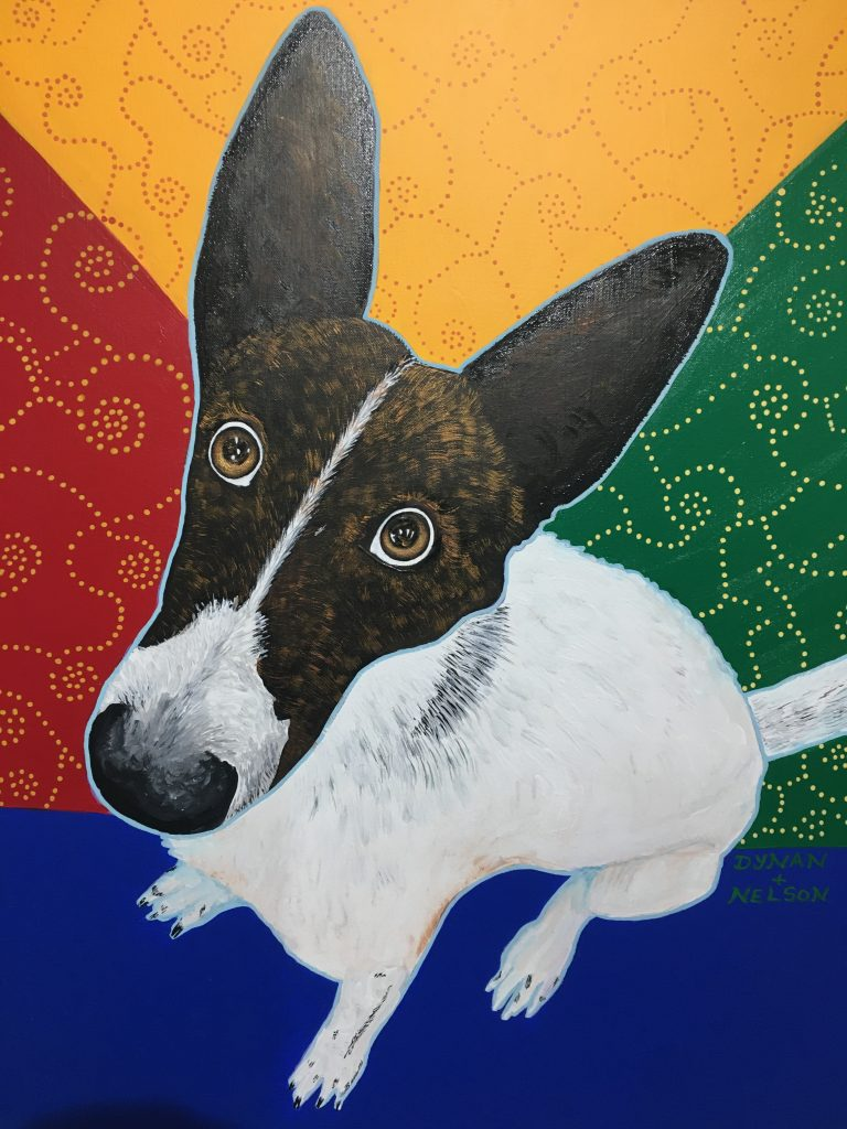 """Ella - A Chico Dog"", Acrylic on canvas, 30x24"", $395, Ella was seen sitting in a parked car. She seemed to be begging to be let out, but windows were half down and there was a dish of water beside her, so she was well cared for by her owner, who turned out to be a clerk at the hardware store Phil & Ana were shopping in."