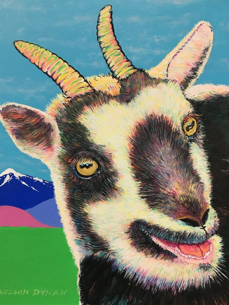 """Talking to you"" , Acrylic on board, 14x11"", $195.  A friendly goat that lives in Sweden. He is especially sociable and has a lot of friends in his neighborhood."