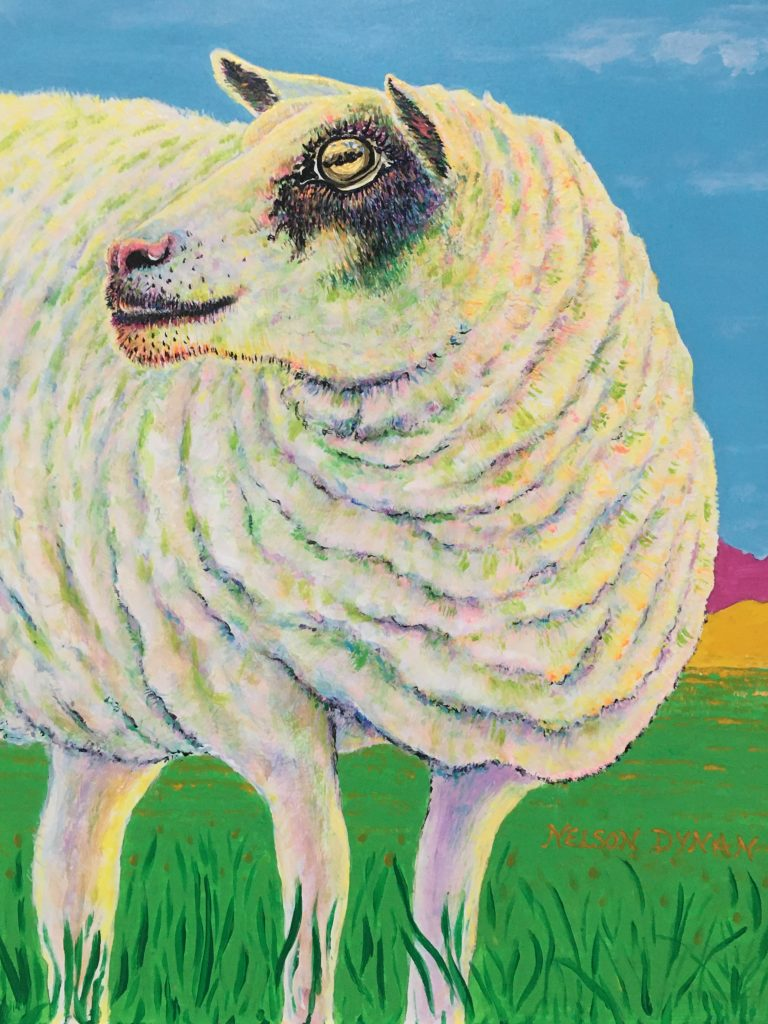 """I'm Listening"", Acrylic on board, 14x11"", $195.  Inspired by a sheep living near Ely in the UK. Phil saw the goat while at a running event - 30 miles across the fens in Northern England."