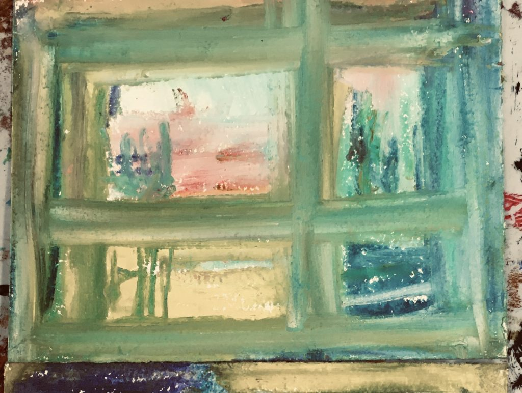 """Judy Kane ( Chico, CA), """"Somewhere Else I"""", oil stick, 6 x 8"""", $25. As I thought about looking out a window Somewhere Else, I imagined a small inn, a gentle breeze and a long afternoon."""