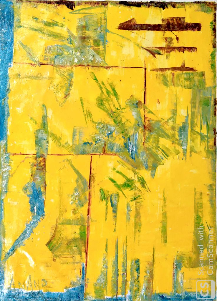 """Anand Manchiraju (Bridgeville, PA), """"YELLOW ABSTRACT"""", OIL ON CANVAS, 30x40"""", $3500.  I spend my quarantine mornings sitting on my favorite yellow loveseat waiting for blossom and hope. I want to hope. I hope that every human can hope for a fresh and clear future. Now, when everyone got some time to stand and stare, lets brush away the paleness with our positivity. I look forward for bright future filled with happiness, but a few permanent scars caused by COVID-19 that we can never ignore."""