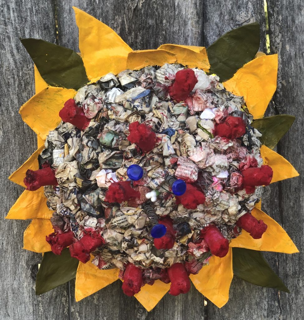 "Gitta	Brewster, ""Coronaria Covidii"", Papermache and Acrylic on Canvas, $150."