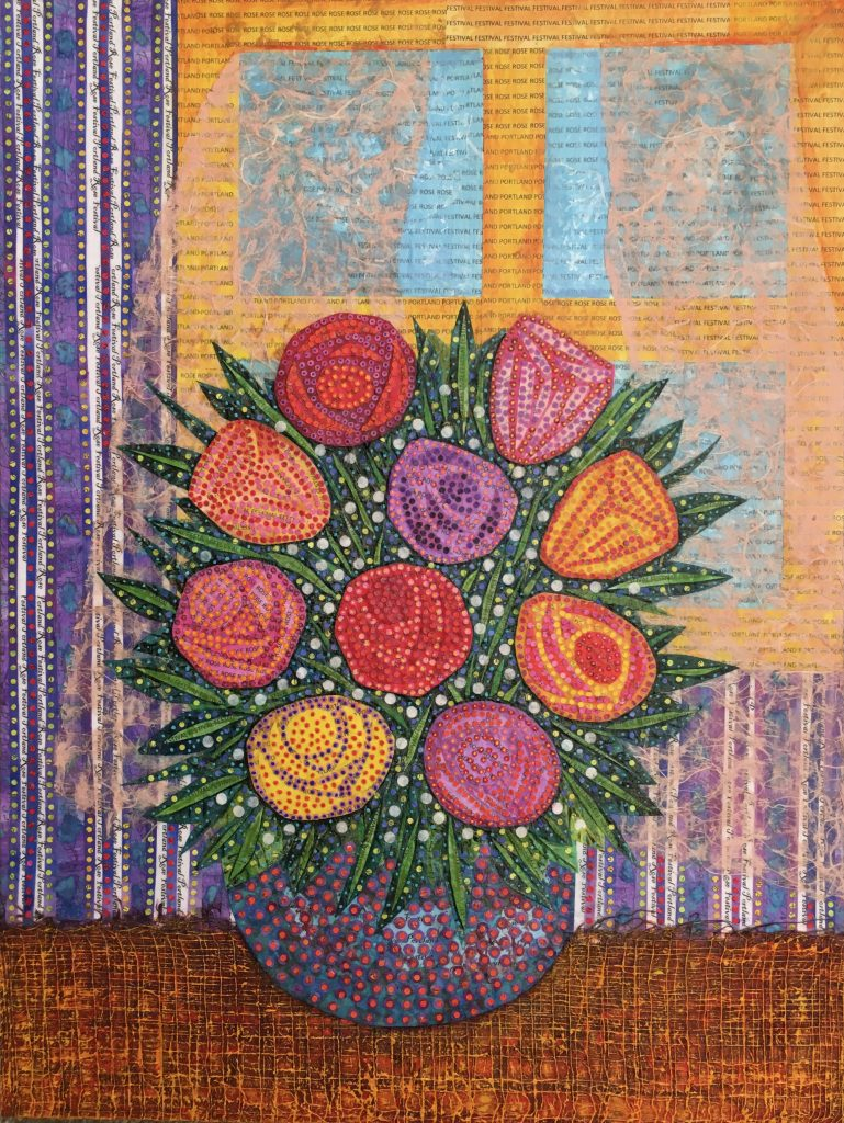 "Teal Buehler (Hillsboro, OR) ""Bouquet of Hope"", collage on wood panel, 18x24"", $800.   This is a view out a window past a beautiful Bouquet of Flowers. It is lonely and hopeful. I work in my garden every day planting, moving things, and digging for hours instead of going out into the world. I started this before COVID-19 for the Portland Rose Festival, which is most likely canceled."