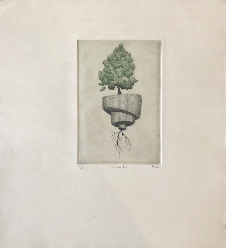 Keith Buswell (Nebraska), Orvieto, 2019, etching, 20x19 inches, $650