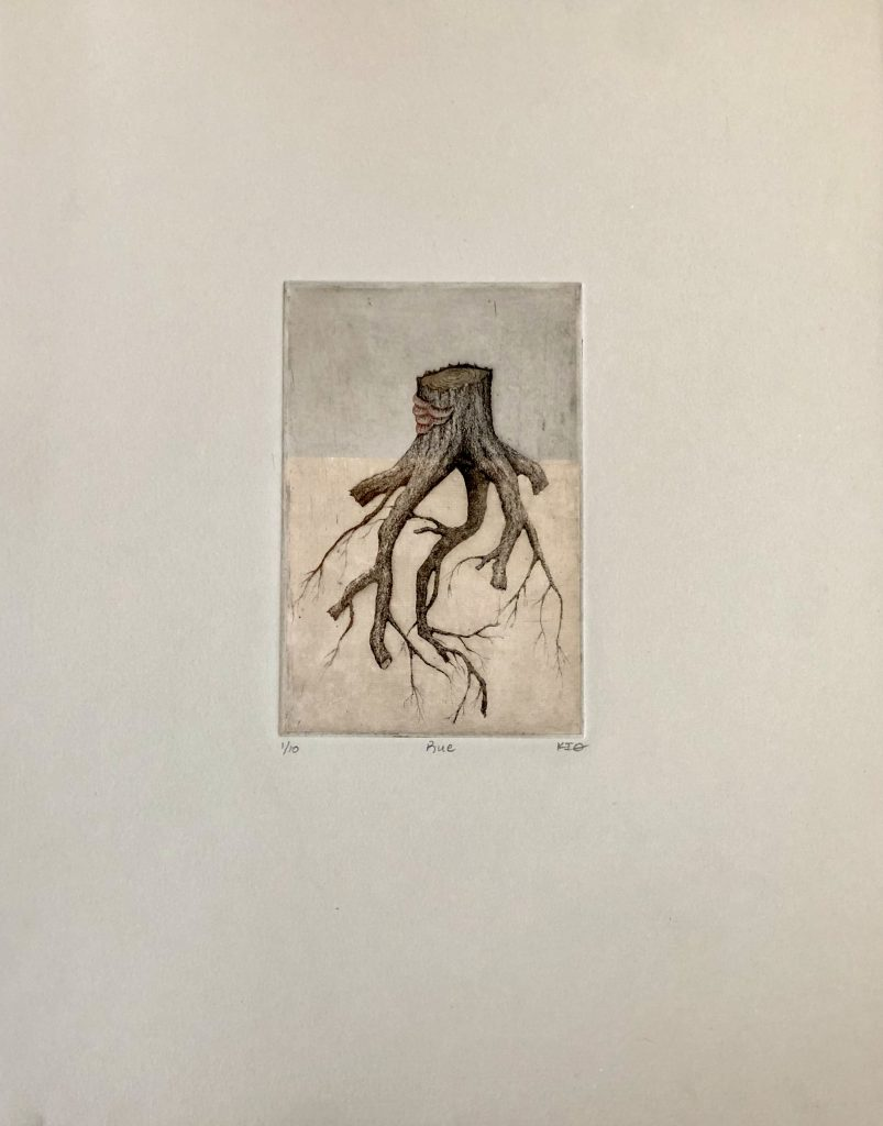 "Keith Buswell (Lincoln, Nebraska), Rue, Etching, 15"" x 12"" (unframed print), 25"" x 20"" (framed), $75.00 (unframed print), $350 (framed). This body of work exemplifies the idea of community. Recent discoveries have shown that some trees speak and help each other through a complex system of fungus underground. I highlight places that mean something to me, in this case Nebraska City, Nebraska where I attended an artist residency at the Kimmel Harding Nelson Center for the Arts. It was an area devastated by recent floods and years of meth addiction, which I, myself, struggled with for seven years. I look at the time of my life as a period of isolation and social distancing, and recently, I have experienced flashbacks on that time. My community, even from a safe distance, helped me get through that dark period as I know it will help me get through this one."