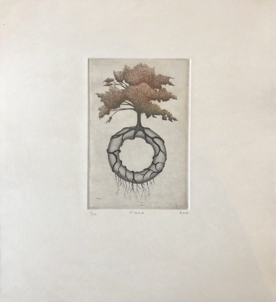 Keith Buswell (Nebraska), Siena, 2019, etching, 20x19 inches, $650