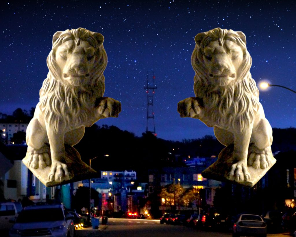 "Bunny California (San Francisco, CA), ""Guardian Lions (3 of 3)"", collage of my photos, NFS During COVID-19, I've still been taking daily walks for sunlight and fresh air. I've been giving people a wide berth of at least six feet. There's also been much less foot traffic and vehicle traffic. Walking in nearby neighborhoods, I've noticed the statues of animals that people place on either side of entryways to buildings and homes-- ranging from classic lions, to kitsch flamingos, to stone horses, dogs, and owls, to planters shaped like pigs, frogs, and rabbits. Much of this might trace back to the statues of guardian lions first used in Asia and in Europe. They were symbols of protection and of positive power. As we shelter-in-place, and the streets become more quiet, these statues still have a presence. These guardian animals can give us an intuitive morale boost, as they watch over our homes, our neighborhoods, our cities, our communities."