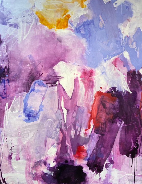 """Jessica Dehen (Fort Lauderdale, FL), """"Violet Sonata"""", fluid acrylics, dry pastel and oil pigment stick on canvas, 37 3/4"""" x 48 3/4 """", NFS.Void of content and nonobjective in style, I create, explore and negotiate complicated relationships between formal aesthetic elements that are constantly in flux as the work is 'becoming'. As coexisting visual tensions and harmonies emerge through the painting process, I respond to them intuitively, allowing these formal interactions to codetermine their own evolutionary path within and suggestively beyond the four sides of the canvas. I parallel the progression of my paintings to that of a slow-forming ecosystem in that they begin with large, gestural forms that will eventually evolve into more complicated interactive spaces, where intuitive marks and complex forms are then given the opportunity to either propagate or perish. I approach my paintings with full-bodied brushstrokes and hand-poured stains of acrylic paint that are applied solely for foundational purposes. The evolution of the painting occurs through supplemental layering of translucent colors, meanwhile smaller, fleeting marks engage with its' forming environment. Scrawled lines are drawn into the surface with oil sticks, dry pastel, or smaller brushes while rags, spray bottles, and my own hands wipe them away, leaving only the remnants of their existence. What remains is an almost topographical visual history for the viewer to now interact with. My highly saturated color palette is inherently inspired by my subtropical South Florida upbringing, which in turn has undeniably impacted the intensity at which I perceive color, as well as my preference to integrate vibrant color relationships into my work. The viewer is not obligated to name the personal thoughts, memories, attachments or sensations that my work elicits, but rather find solace and a sense of self in being a part of a shared visual experience."""