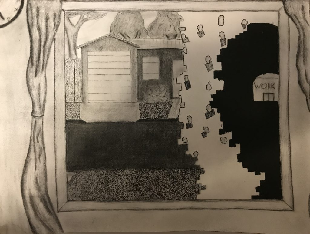 "Nicholas Campbell	 (Chico, CA), ""Tunnel Vision"", charcoal, NFS.  		The actual view from my window hasn't changed that much, just perhaps a few less neighbors out in their yards. But working at as essential retailer means I'm still going in to work each day. And that is the only place I go each day, so in some ways it feels like the outside world is disappearing. In its place is a tunnel of sorts leading from my door at home to the door at work. It has no other exits, no other ends, only work and home, as the virus and the situation it's caused slowly dismantles anything outside of that for me. The real effect hasn't been so much an isolation from other people, there are plenty at work, but an isolation of place, a feeling that the world is shrinking down to the two points."