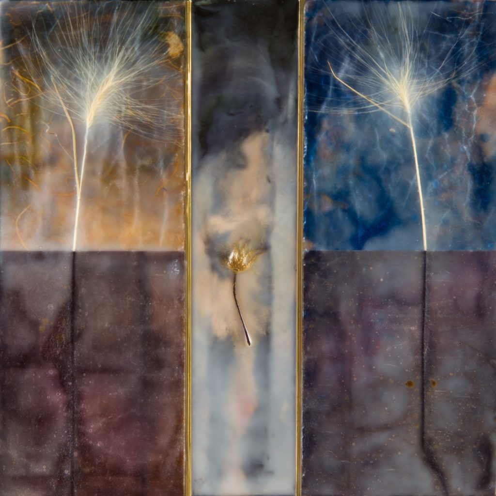 Lauren Eisen (Colorado), Firelight, 2020, encaustic, metal, paper, grasses, clematis pod on wood panel, 12 x 12 inches, NFS