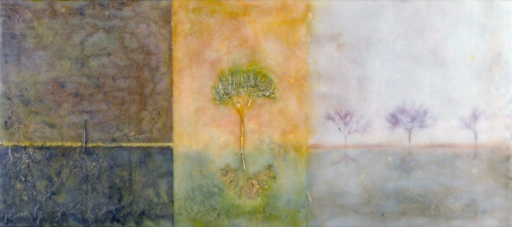 Lauren Eisen (Colorado),  Ring of Fire, encaustic, paper, oregano, smokebush on wood panel, 12 x 24 inches, NFS