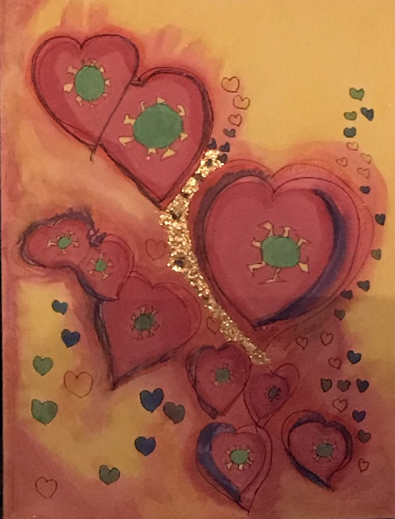 """Nancy Kennedy (Chico, CA),""""Transformation"""", mixed media, NFS.   Can kindness and love transform a virus?"""