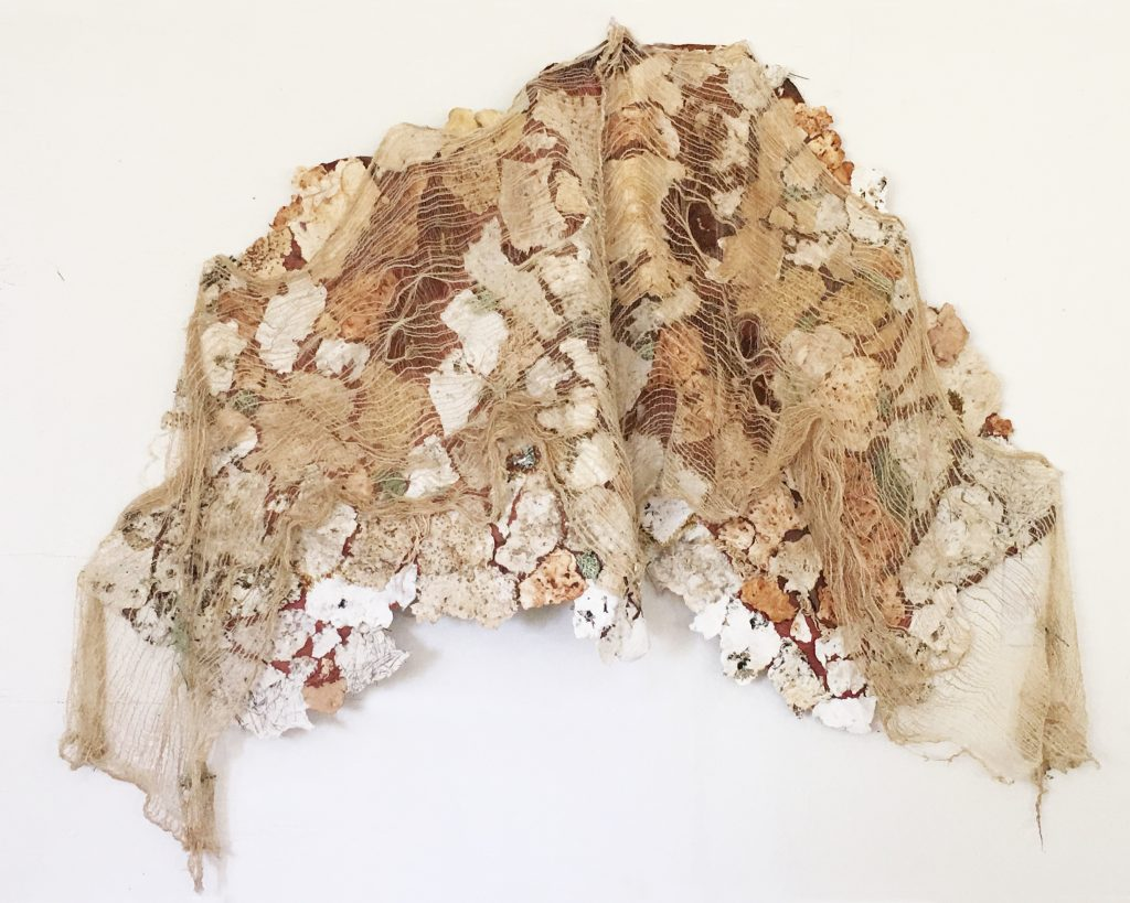 Marily Geary (California),  Mending the Mountain, 2019, fiber,  52 x 40 inches, $2700
