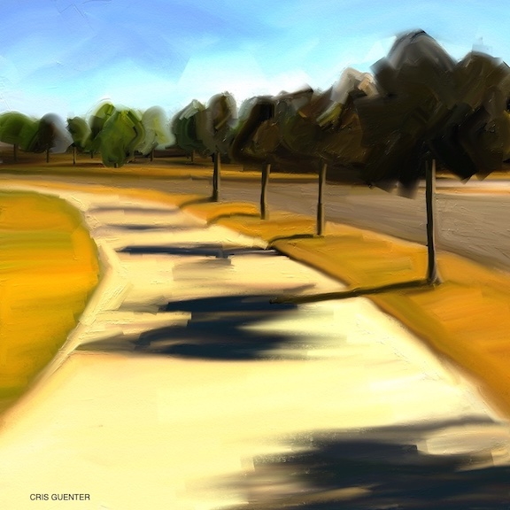 "Cris Guenter, ""Morning Walk"", oils, NFS.		With the pandemic limiting interactions with others, my morning walks have taken on greater significance. This local scene is part of my early morning walk. It is near the big roundabout and Wildwood Park across from the Elks Lodge. The morning sun casts delightful shadows that dance on the sidewalk."