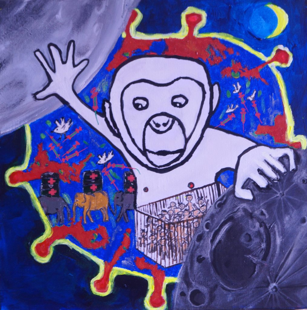 "Ovoar Artistas Plásticos iLtda. (São Paulo, Brazil)	30x40"", ""Who rules the world?"", digital painting, NFS.  Primate or Posmata? Who is this hominid? Owner of himself, sovereign of all, controller of everything? Where does he come from? Why does it exist? He is good? Is he evil? Is he real?"