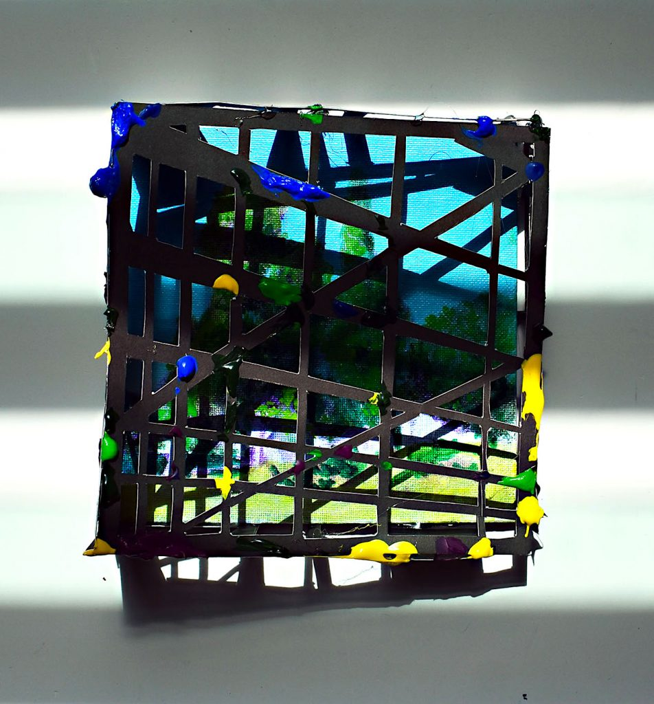 """Edward-VictorSanchez (Vega Alta, Puerto Rico), """"Encierro en el Encierro/ Confinement Within a Confinement"""", photograph, 12"""" x 10"""", $175.As this unique period of time unfolded, with the notion that enclosed, surrounded, confined, within these walls I was safer; while my body was inside, I let my mind and my art wonder free, """"outside"""". Upon their return I painted landscapes, sunrises and sunsets and I felt physically free as well…        As the Puerto Rican lockdown advanced (40+ days), the paintings became a cathartic exercise or a metaphor of what I was feeling.     I reduced the color palette, after all I couldn't see that much; I painted outside the under-painting, after all everything was feeling kind of monochromatic; I cover the images with gridded papers, after all the landscape felt trapped and obstructed; and photographed the paintings under the shadows created by the windows of my living room, after all, that was my new reality…"""""""