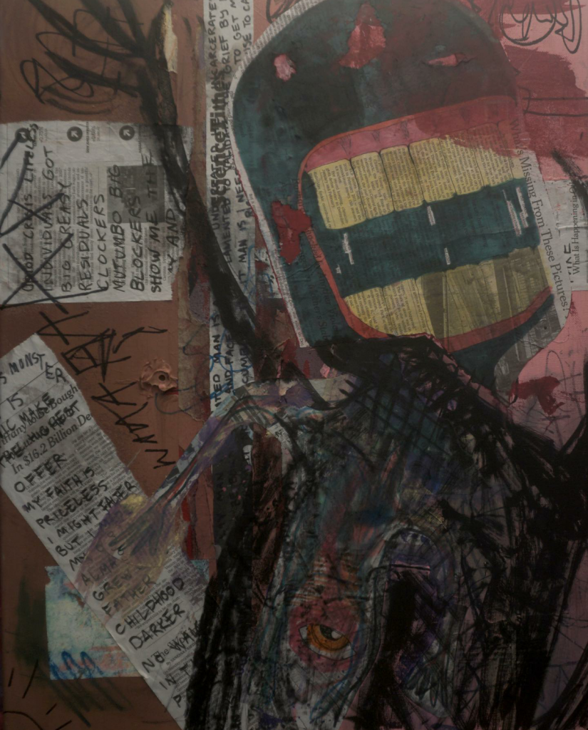 """Lucas Lazarre (Connecticut, US), """"Mutumbo Big Blockers"""",  mixed media, NFS. To make a twenty two year long story short, I decided to reprogram myself at the beginning of this year (Jan. 27). I recognized that holding the outside world responsible for my emotions was not working for me. As a result, I decided to focus my energy towards my LIFE; language, intentions, frequencies and experimentation. Instead of affirming myself as a victim to this current pandemic, I have chosen to address it as opportunity to prosper in times of war and long suffering, both internal and external."""