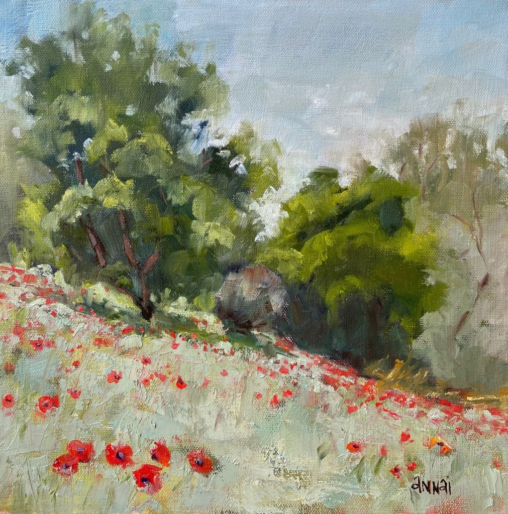 "Annai Smith,""Morning Poppies 1"", oil painting, $170. Living far from family can be hard as well as a blessing. This particular painting was inspired by a quick trip to visit my son and daughter-in-law expecting their first baby, my first grandchild. The poppy field was so full of vibrancy and life. Photographing my beautifully pregnant daughter-in-law amongst the flowers was an opportunity to combine both beauty and life into a memorable portrait. Painting the poppies was my way to immortalize that beauty and life."