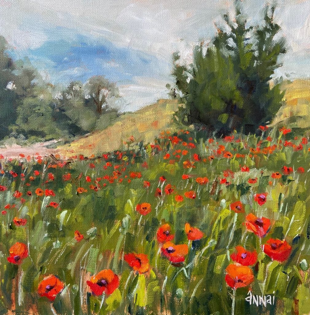 "Annai Smith, ""Morning Poppies 2"", oil painting, $170. Mid-morning light blankets the field of poppies. My artistic eye not only takes in every detail of beauty and color but analyzes the many pleasing compositions of the scene. I can't help myself. It's and innate desire to gather the scatterings of nature's bounty and arrange them to my liking. I AM AN ARTIST!"