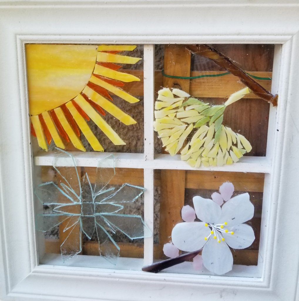 "Sue Warwick, ""View Out My Window"", mosaic, NFS.  I am lucky enough to live by Bidwell Park. My studio window faces that park. I see the seasons change through that window. I captured the ginkgos from the Esplanade and the almonds all around us."