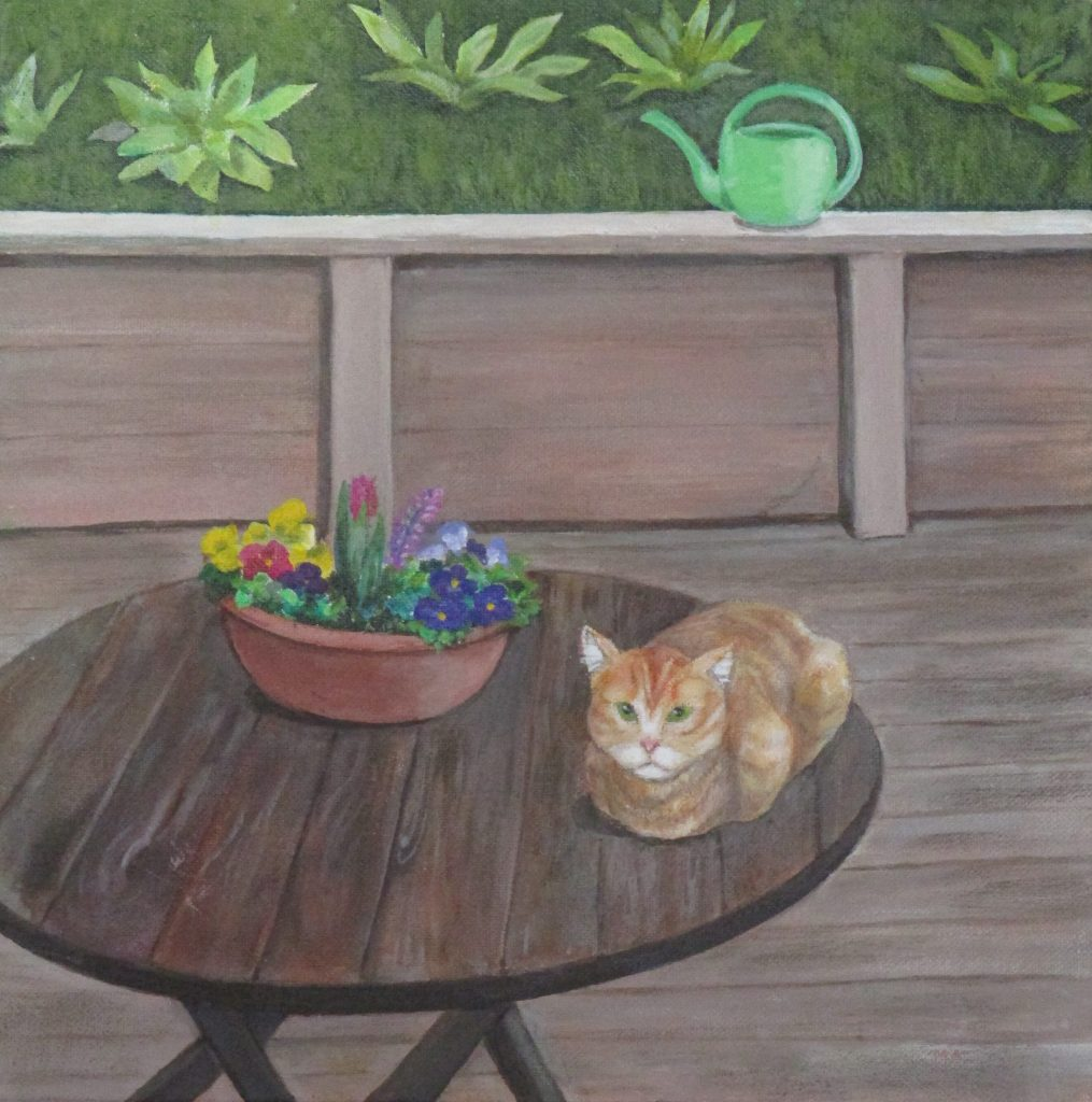 "Maggie Wisdom, ""A Visit From Squeaky"", acrylic, $60. Inspired by a friendly visit from a neighborhood cat."