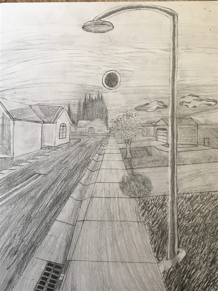 "Anthony Beltz (Yuba City, CA), ""Every 18 Months"", graphite pencil, NFS.  In times where people did not know much about the world around them, humans often attributed natural occurrences or disasters that are now explained by science to the supernatural, or to the divine. The solar eclipse, in particular, was seen as a herald of doom in many different religions, a rare few even figuring out that it always happened, somewhere, once every eighteen months, hence the title. No matter what the hardship, however, we humans managed to persevere and survive throughout it all. The empty streets, lack of automobiles, and the annular solar eclipse in the background speak together of impending doom coming to all in the world space in which the drawing is situated, wherein not many, if any at all, have survived. In such cases as the story told in the drawing, only one hope would normally remain. In the case of the Coronavirus, it is the pathologists who can develop the vaccine to put this epidemic to a screeching halt.    With the current 2% death rate epidemic known as COVID-19, or the Coronavirus, plaguing the land and causing mass panic, remember that keeping in your current location in isolation will help to slow its spread and contain it as scientists work to develop a vaccine against the lethal threat. Moving to someplace that is supposedly safer when you yourself will be exposed to others and may contract the virus in the process only increases the risk of spreading it to others, especially in different regions, further accelerating the virus's spread."
