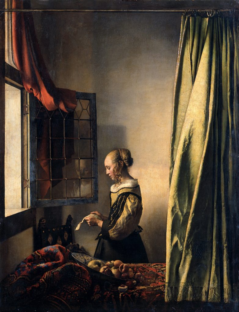 """Johannes Vermeer, """"Girl Reading a Letter at an Open Window"""", 1657–1659, oil on canvas, 33×25.4"""""""