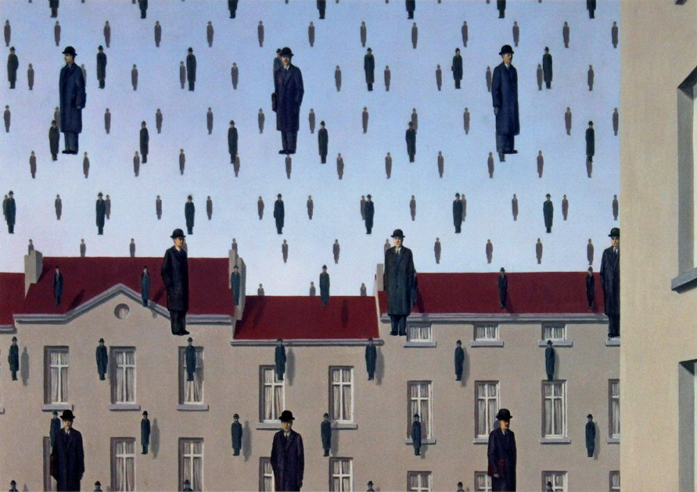 """Rene Magritte, """"Golconda"""", 1953, an oil painting on canvas, dimensions unknown"""