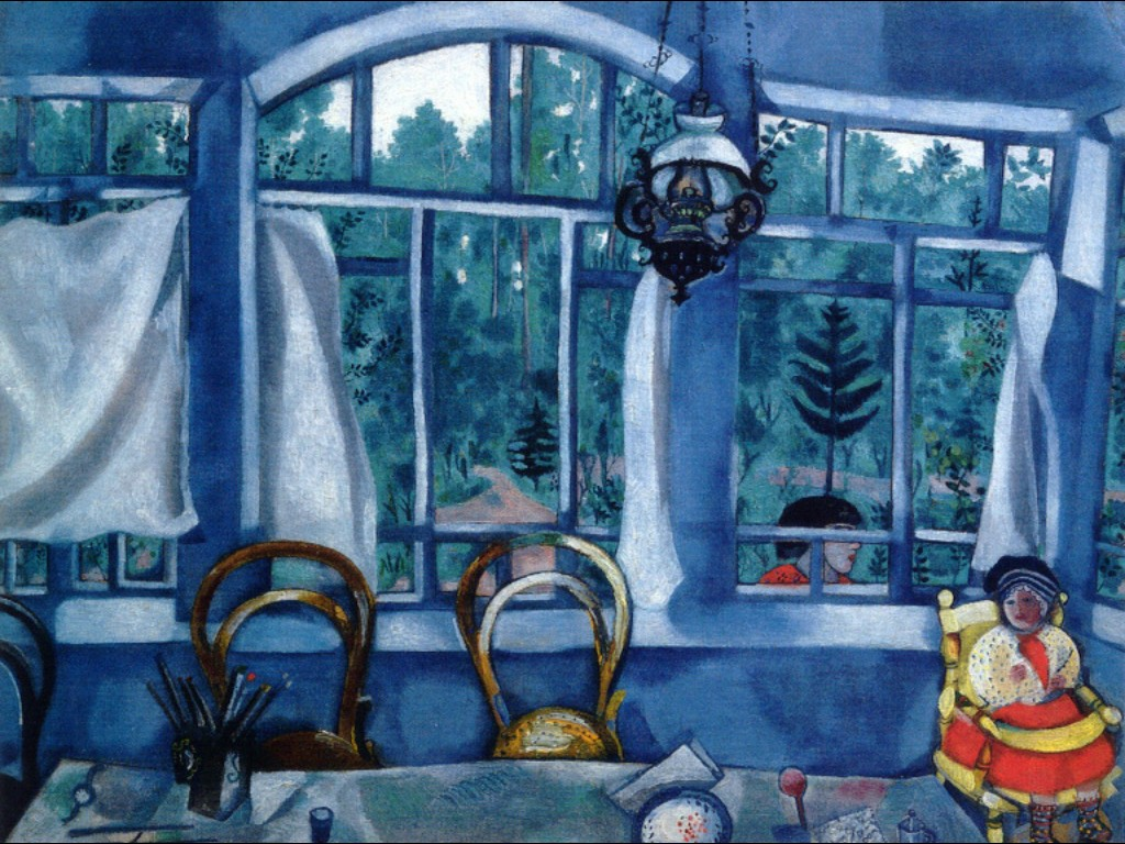 """Marc Chagall, """"Window over a Garden, Museum-Apartment of Isaak Brodsky, St. Petersburg"""", 1917"""