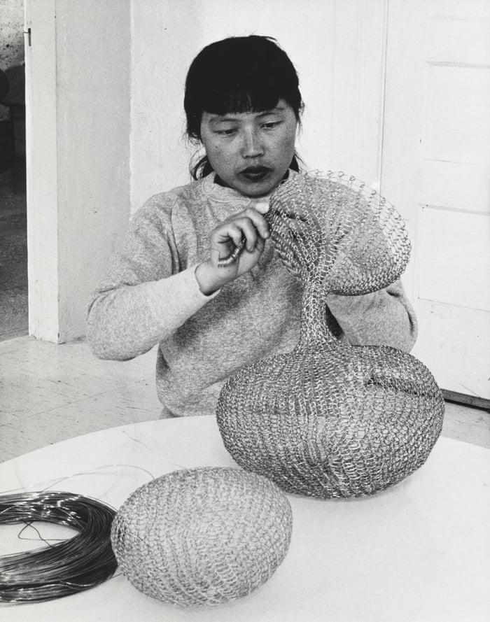 Ruth Asawa at work. 1956