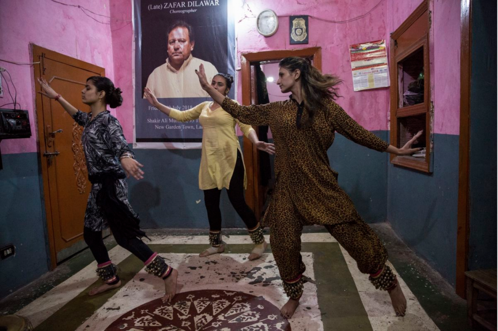 """Saiyna Bashir, """"Visiters dance with traditional anklets to classical music at the classical dance academy in Lahore, Pakistan, 2018, photo"""