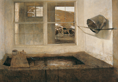 """Andrew Wyeth,  """"Spring Fed"""", 1967 tempera on masonite overall 27 1/2 x 39 1/2"""" Collection of Bill and Robin Weiss"""