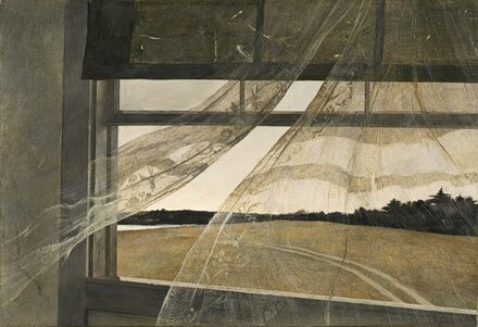 """Andrew Wyeth, """"Wind from the Sea"""", 1947, tempera on hardboard, 181⁄2 in × 279⁄16 in"""