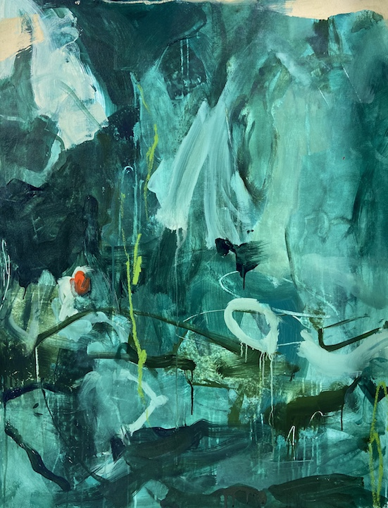 """Jessica Dehen(Fort Lauderdale, FL), """"Algae Bloom"""", fluid acrylics, dry pastel and oil pigment stick on canvas, 37 3/4"""" x 48 3/4"""", NFS.   My work is my escape right now. Being in my first year of graduate school in pursuit of my MFA in Painting, I envisioned """"big things"""" for my work that are now temporarily being put on hold due to the COVID-19 pandemic and my university being temporarily shut down. I am limited in not only my access to various on-campus materials, but now also being limited in the scale that I am able to work on from my small apartment home. The circumstances are frustrating and painting has been my release. I have been both bold and aggressive in the handling of my materials and the process itself has been extremely cathartic. My enthusiastic use of bright colors are reminiscent of my South Floridian sub-tropical surroundings that I am missing dearly from the four white walls of my apartment. This vivid colors are what bring me joy on these long, quiet, and isolated days at home."""