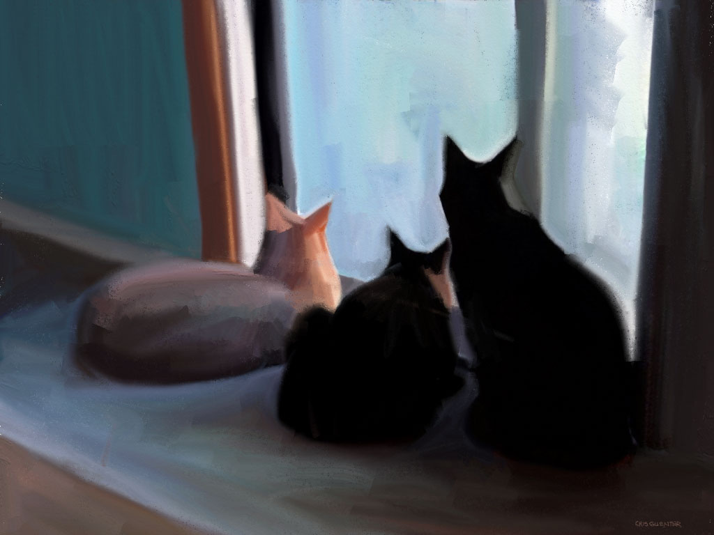 "Cris	Guenter (Chico, CA), ""Window Watchers"", oil on canvas, NFS.  I have three cats, Rebel, Piper, and Dash. They currently love having their pet human ""on demand"" 24/7. I think they know something is going on, though. They have been sticking close to home and not venturing too far, even with the nice weather."