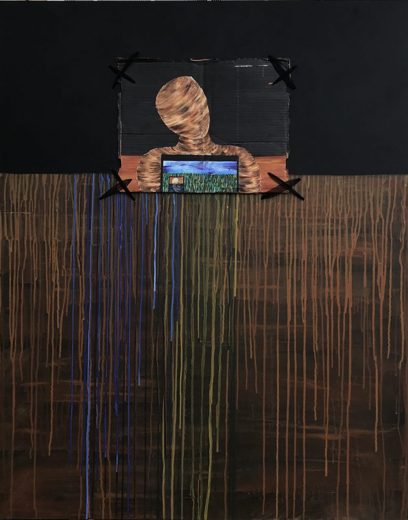 Kristin Bradley (Chico, Ca), Untitled, mixed media on canvas, 4' x 5', $900. 		Holding a vision that travels with honest movement, I find myself floating through dimensional shifts with the intent of versatility and respect. While remaining firm in my foundation I am consistently in the pursuit of compassion, for all beings.