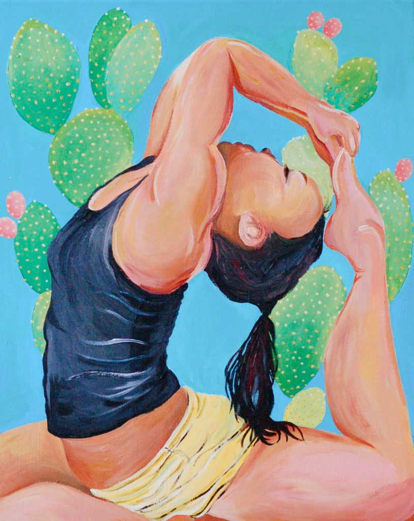 "Katherine	Leung (San Jose, CA), ""Selfie"", acrylic on canvas, NFS.   Asana is made up of bodily positions intertwined with balance and breathing. The study of asana has helped thousands of displaced individuals ground themselves, reflect, and meditate. It is especially important to ground oneself during these tumultuous times. The artist has recreated a photo of herself in King Pigeon Pose also known as Eka Pada Rajakapotasana. This is a practice that allows the artist to see into her inner world through movement and meditation."