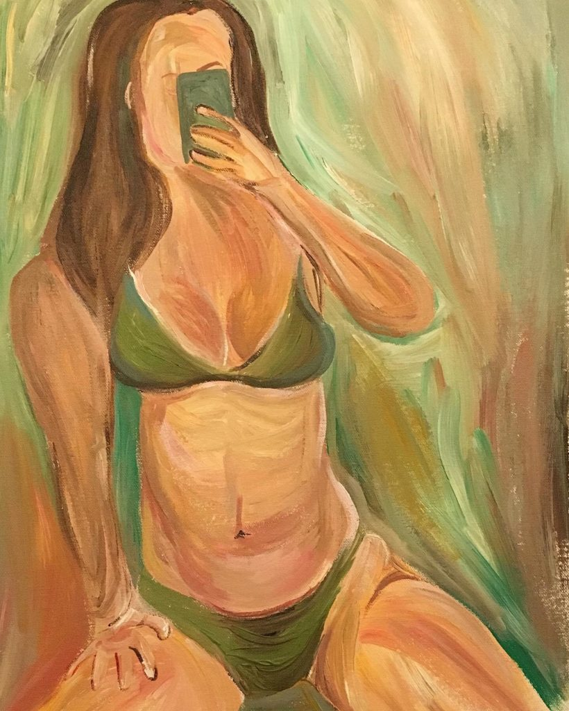 "Katherine	Leung (San Jose, CA), ""Selfie"", acrylic on canvas, NFS. 		During the quarantine, women around the world provide a window into their world through posting selfies on social media. The ability to have flattering photos taken of oneself is privilege – with class, social, and cultural implications, dating back to the origin of portraiture. Selfies are emblematic of the early 2000's rapid growth in social media and smart phones. To take a Selfie is to take back that power, especially for individuals marginalized by society. The artist recreates mirror selfies taken by sex-workers and self-positive females from various online platforms that have fallen under the radar of April 2018 US Senate and House bill SESTA/FOSTA. Stop Enabling Sex Traffickers Act (SESTA) and Allow States and Victims to Fight Online Sex Trafficking Act (FOSTA) claims to punish traffickers, instead creates obstacles for legitimate online business, making it harder for consensual sex workers to make a living. Others argue it threatens online speech. The repercussions of SESTA/FOSTA are felt today in many online communities such as Backpage, Instagram, Facebook, and Tumblr.    Consensual nude mirror selfies are continually censored or removed without the poster's permission, revealing the hypocrisy of ""free speech"" in the US. Selfies and self expression is power. It is also a means to an end for sex workers.    Dismissal of ""frivolous"" trends such as Selfies reveal deeper societal contempt for women. In these paintings, the artist praises the bravery of loving, accepting, and at times, monetizing, one's body in the age of social media."