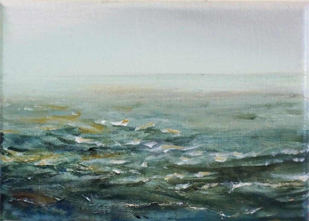 "Marie McKenzie (Ojai,	CA), ""Sun Rolls In"", oil on canvas panel, NFS. 		 I have been working on this painting for the last couple of months during the quarantine and had a hard time getting the feeling of stormy waters across. The water was not choppy enough, I felt very emotional in every decision I was making but it also was not right as it was. I broke through when I ditched my paint brush and picked up my palette knife. I don't normally paint with a palette knife but in this moment it was cathartic, I ""tore"" into the paint on the surface without worrying about the results. Finally, the sun broke through the clouds."